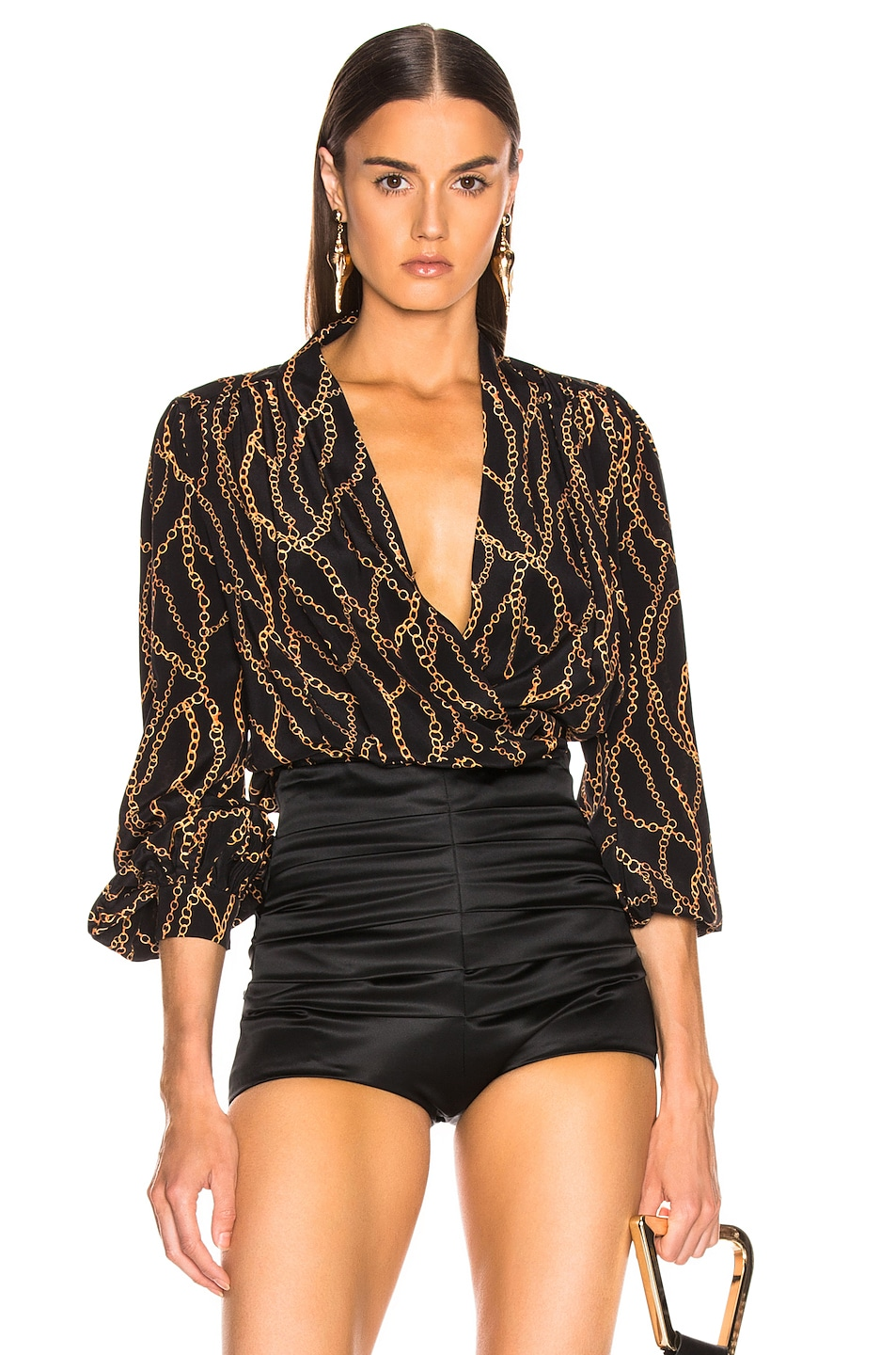 Image 1 of L'AGENCE Cara Wrap Blouse in Black & Multi Chain