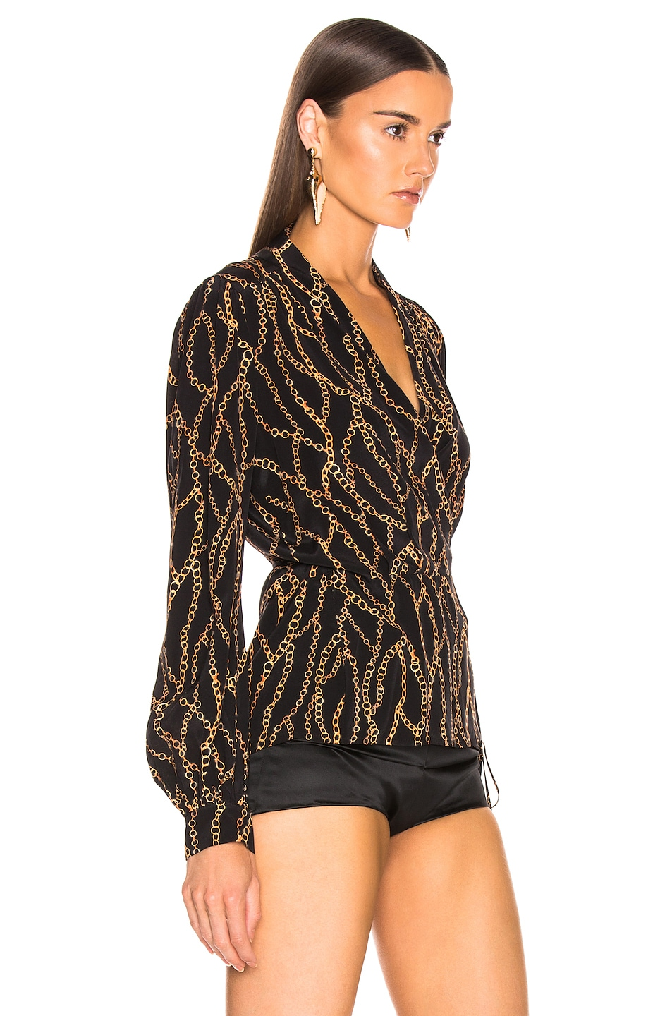 Image 2 of L'AGENCE Cara Wrap Blouse in Black & Multi Chain