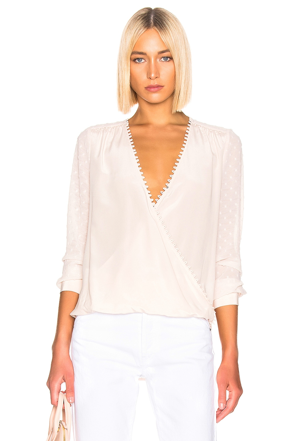 Image 1 of L'AGENCE Perry Fabric Blocked Blouse in Champagne Combo