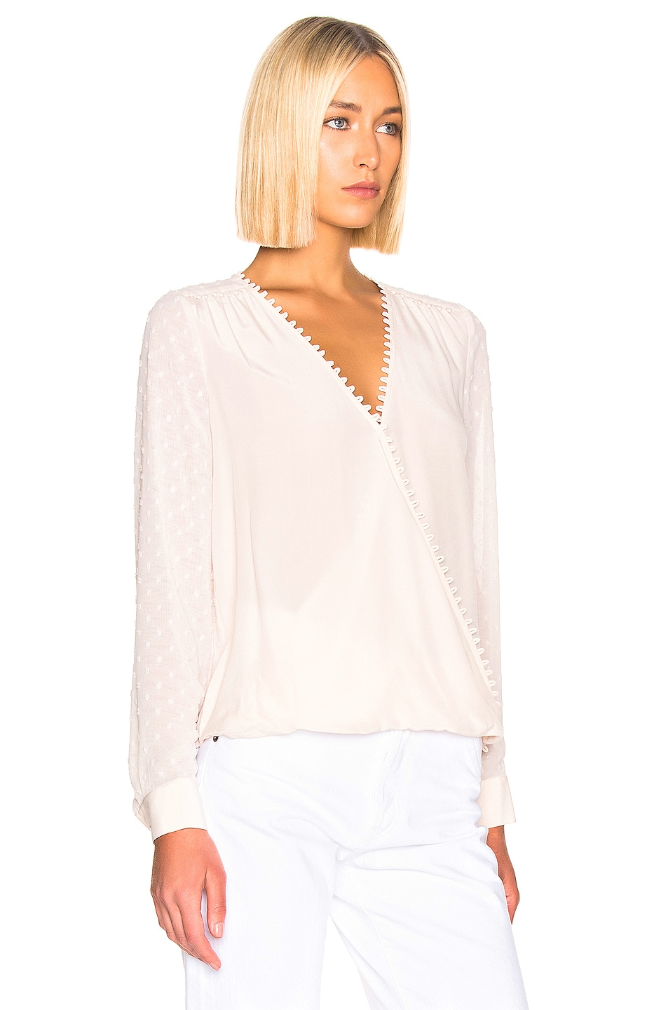 Image 2 of L'AGENCE Perry Fabric Blocked Blouse in Champagne Combo