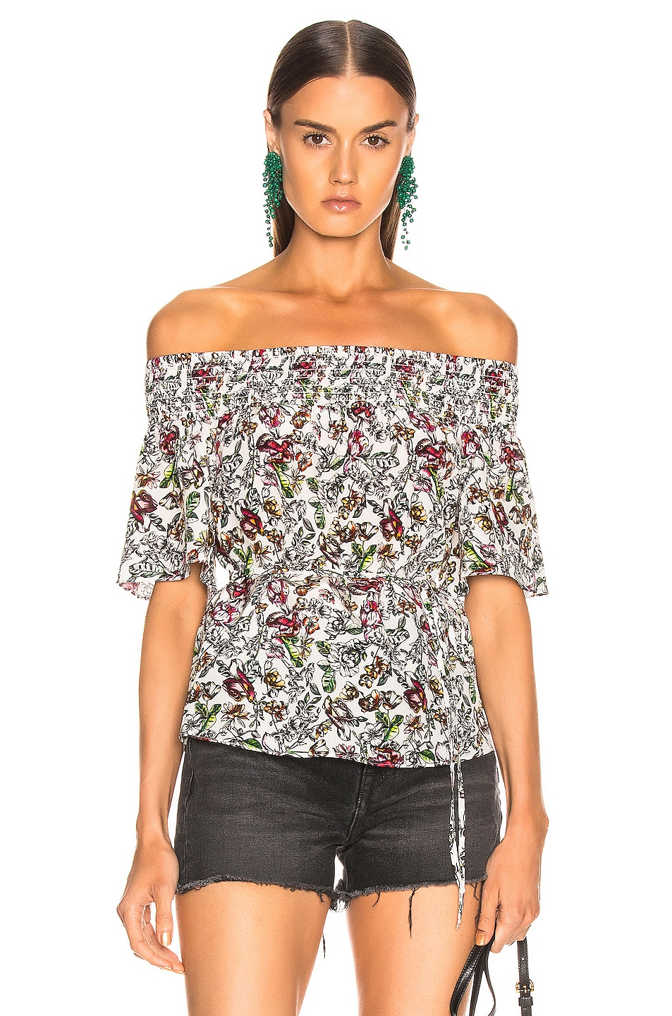 Image 1 of L'AGENCE Lucia Off Shoulder Smocked Blouse in Ivory Multi Floral