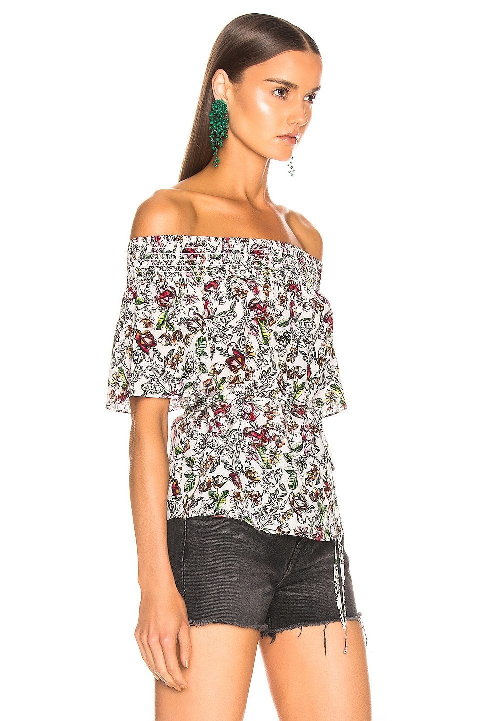 Image 2 of L'AGENCE Lucia Off Shoulder Smocked Blouse in Ivory Multi Floral