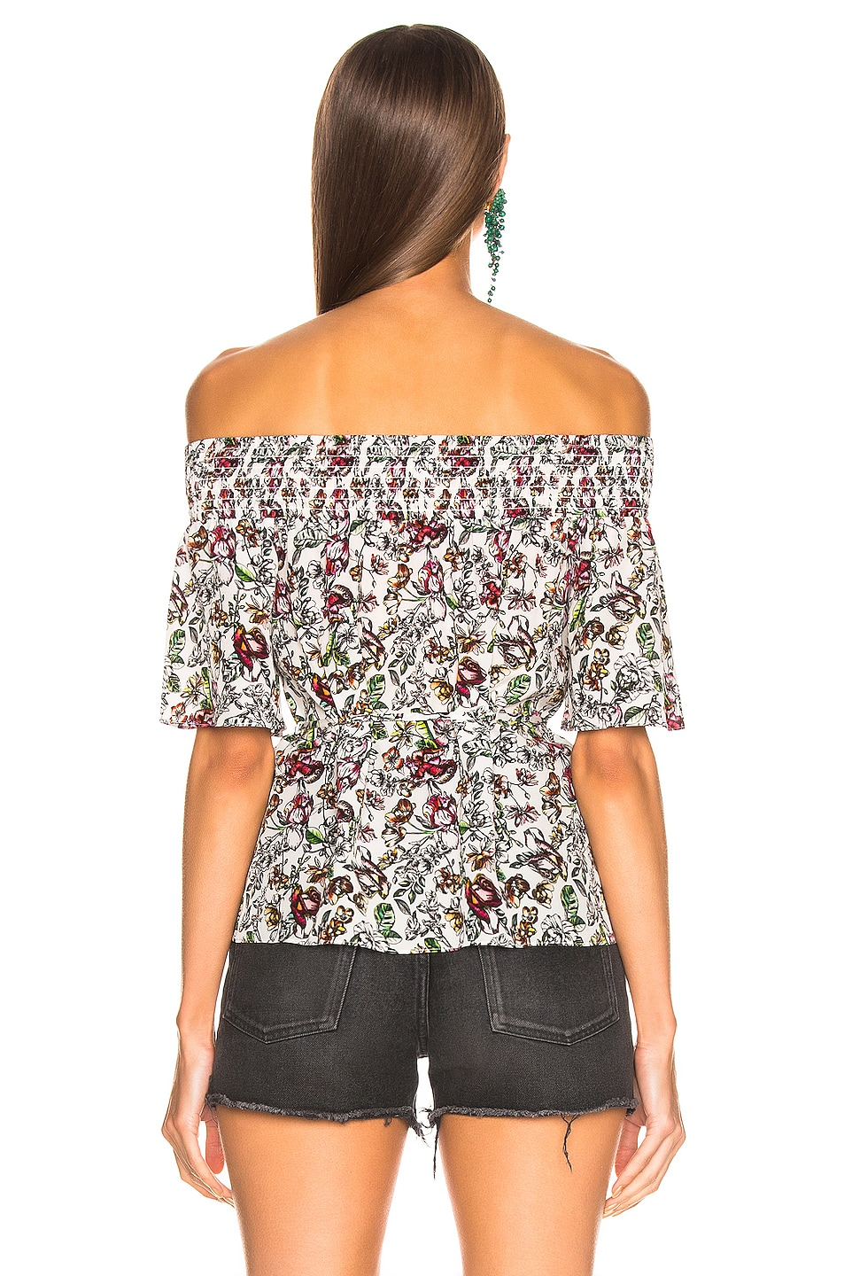 Image 3 of L'AGENCE Lucia Off Shoulder Smocked Blouse in Ivory Multi Floral