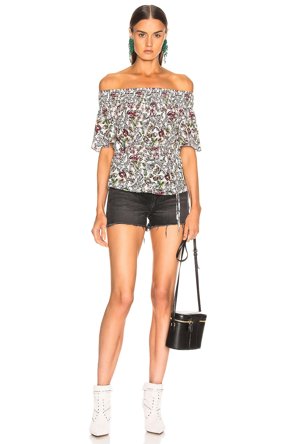 Image 4 of L'AGENCE Lucia Off Shoulder Smocked Blouse in Ivory Multi Floral