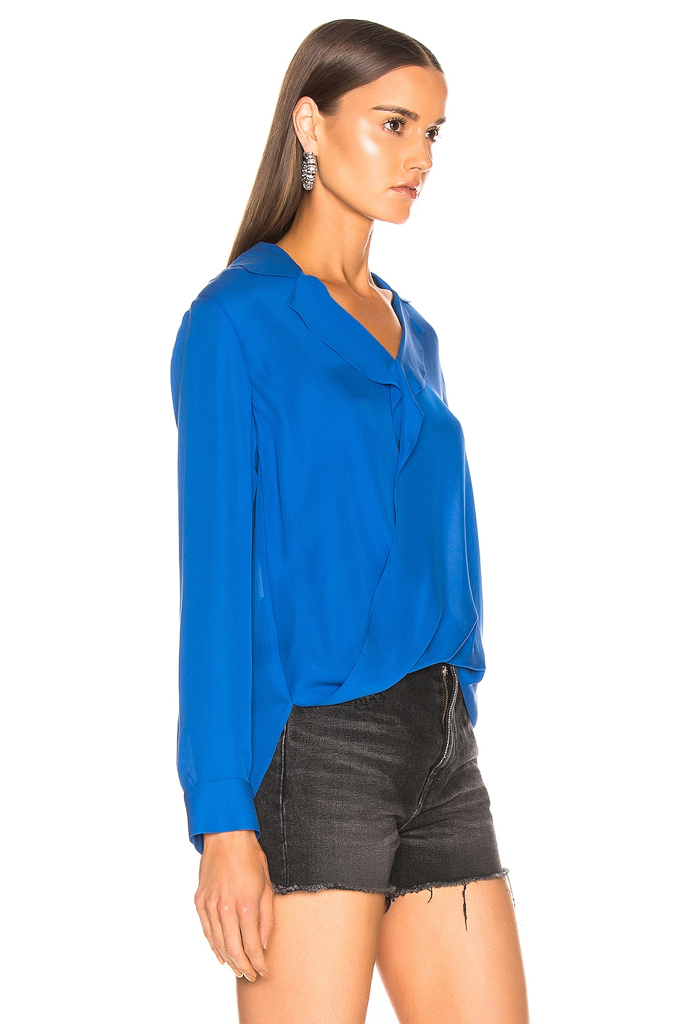 Image 2 of L'AGENCE Rita Drape Front Blouse in Riviera Blue