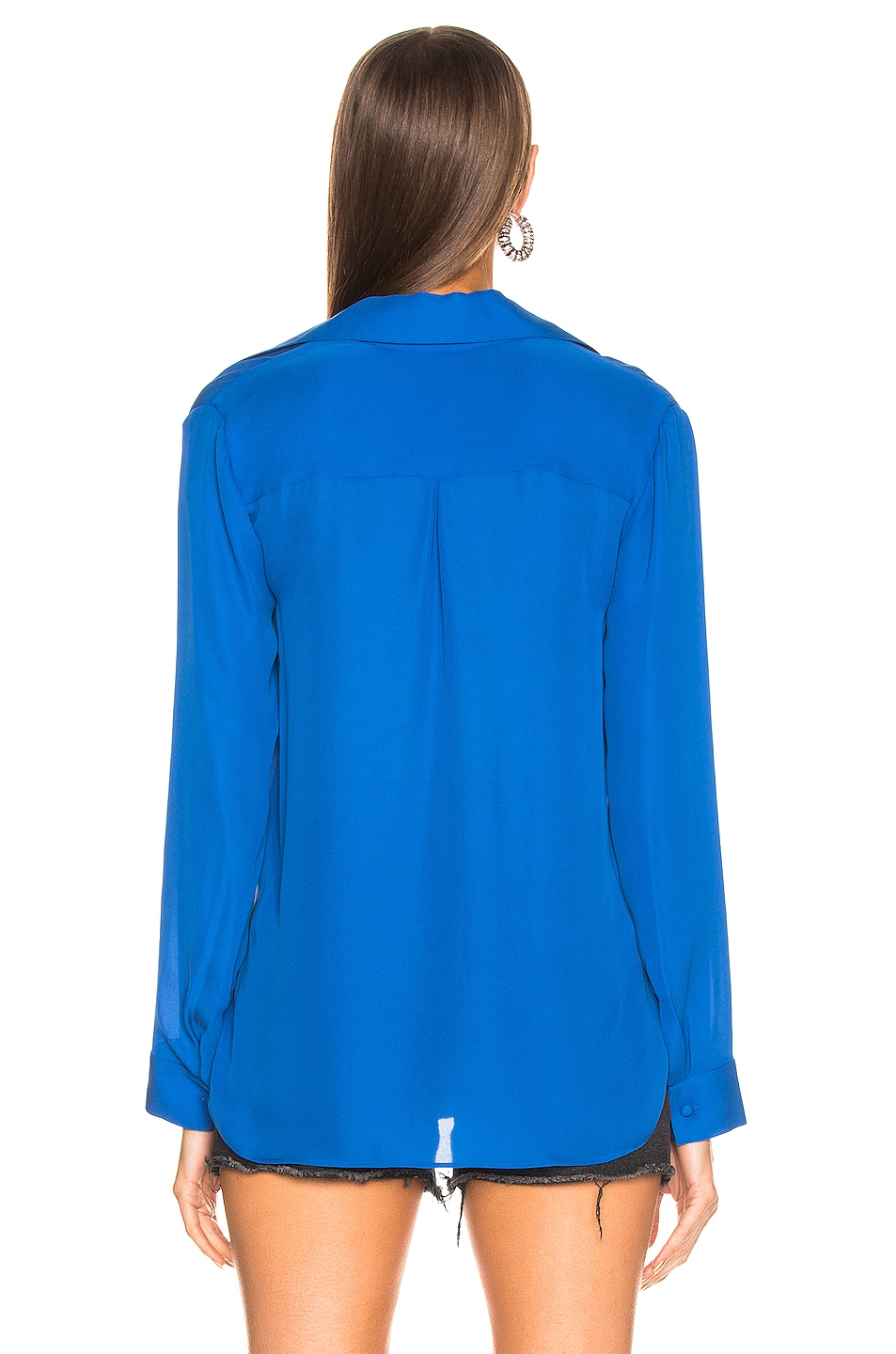 Image 3 of L'AGENCE Rita Drape Front Blouse in Riviera Blue