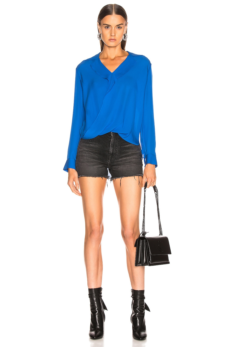 Image 4 of L'AGENCE Rita Drape Front Blouse in Riviera Blue