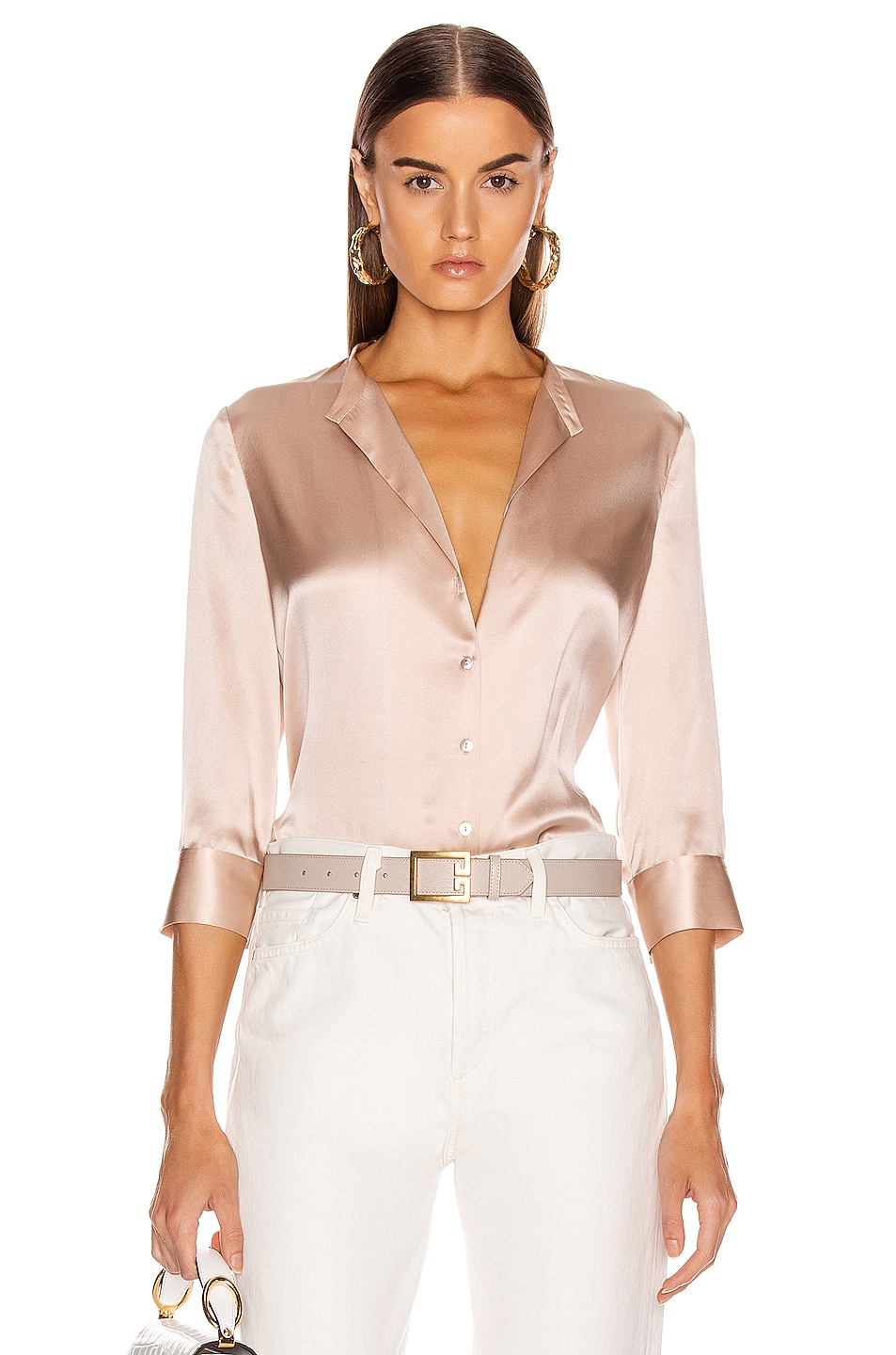 Image 1 of L'AGENCE Aoki Band Collar Blouse in Petal