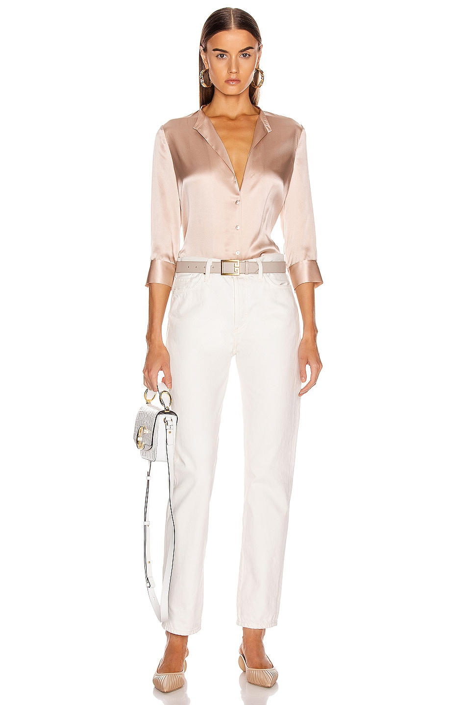 Image 4 of L'AGENCE Aoki Band Collar Blouse in Petal