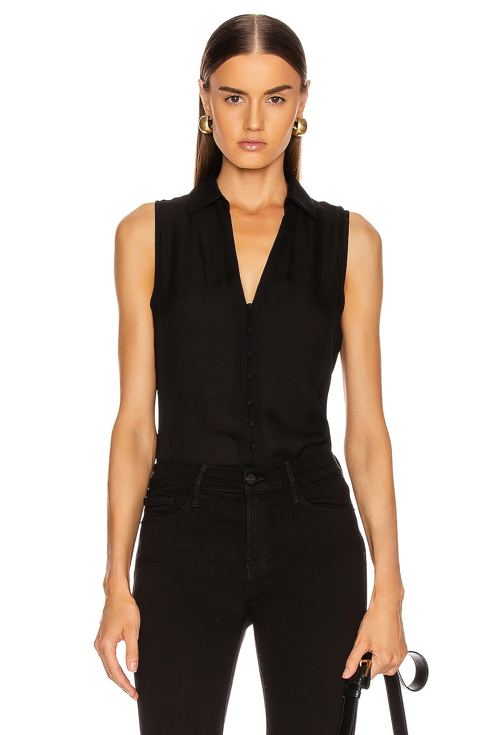 Image 1 of L'AGENCE Tanya Button Loop Blouse in Black