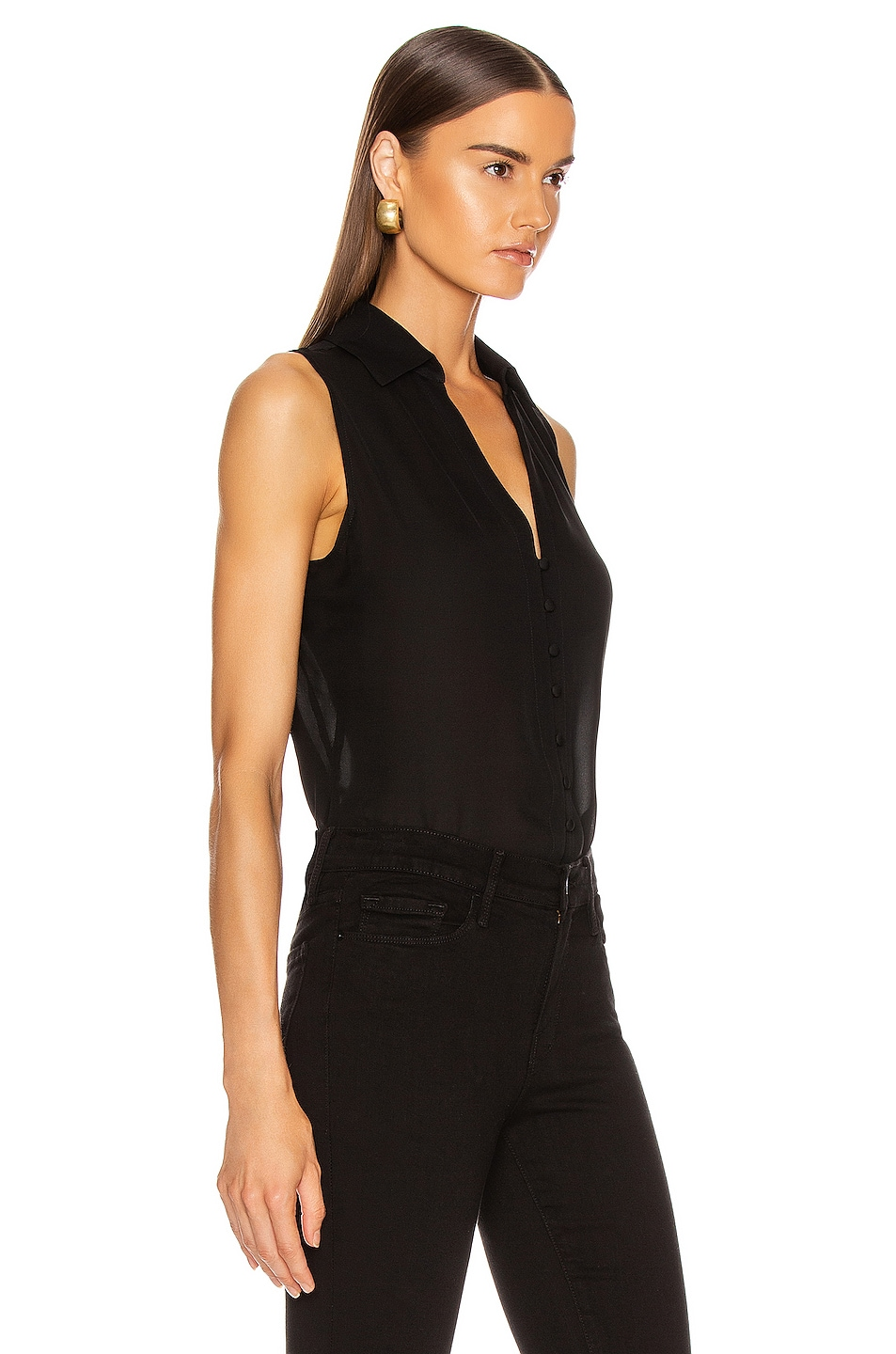Image 2 of L'AGENCE Tanya Button Loop Blouse in Black