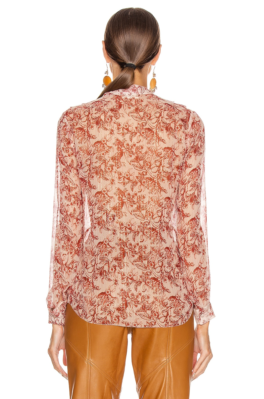 Image 3 of L'AGENCE Nadine Ruffle Shoulder Top in Redstone & Quartz