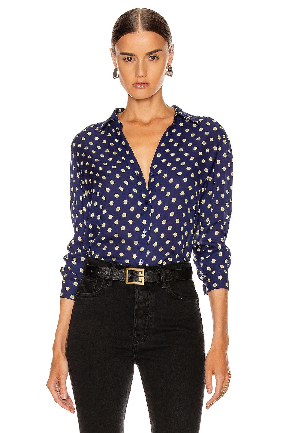 Image 1 of L'AGENCE Nina Long Sleeve Top in Oceana Multi Maestro