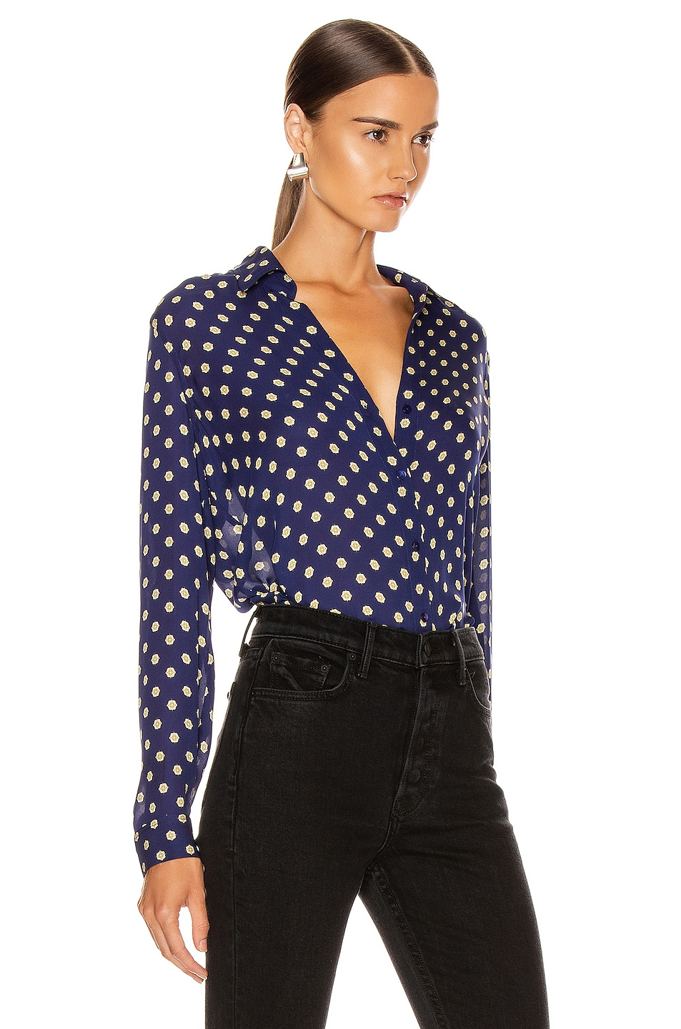 Image 2 of L'AGENCE Nina Long Sleeve Top in Oceana Multi Maestro