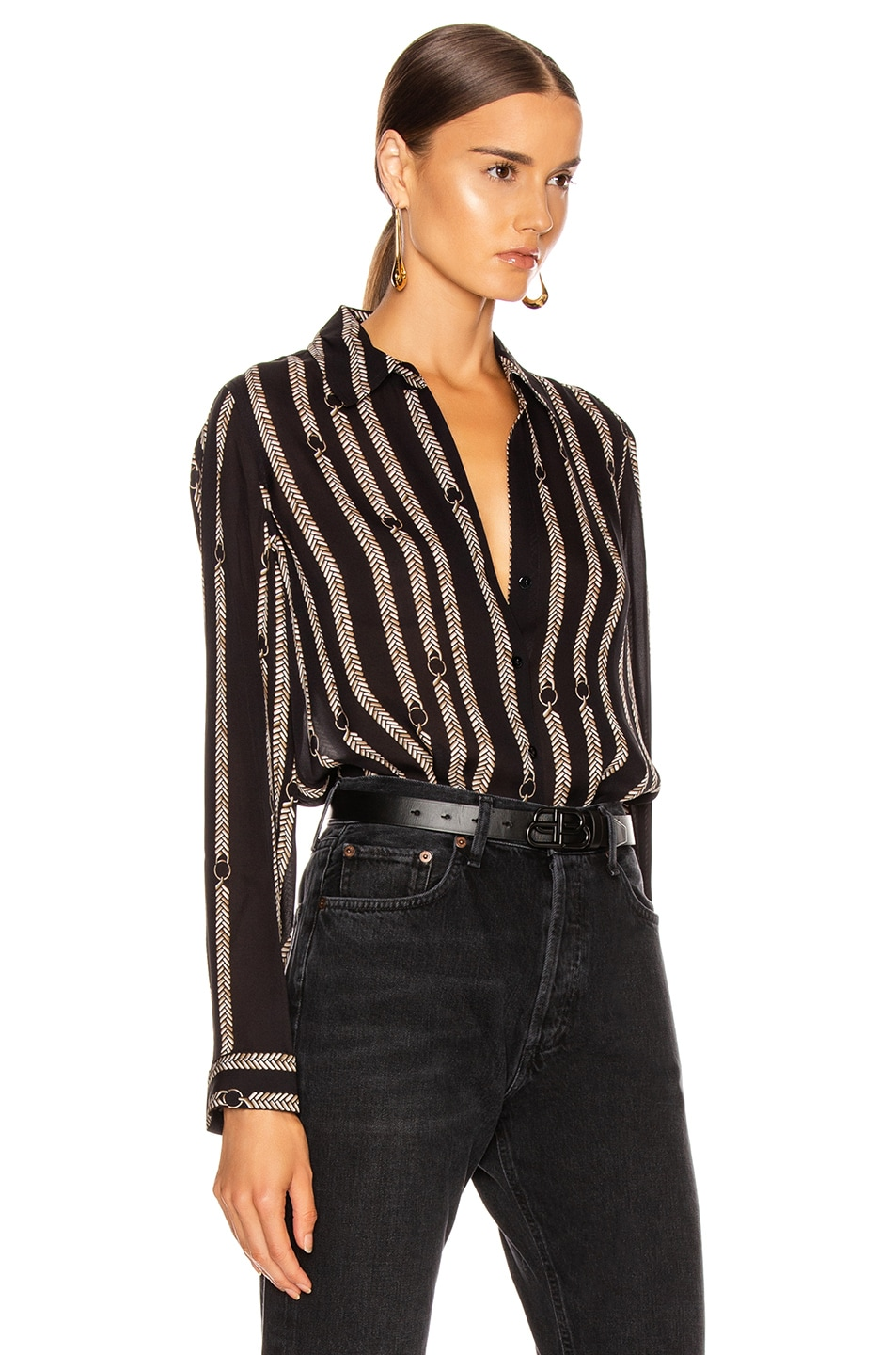 Image 2 of L'AGENCE Nina Blouse in Black Anguillette