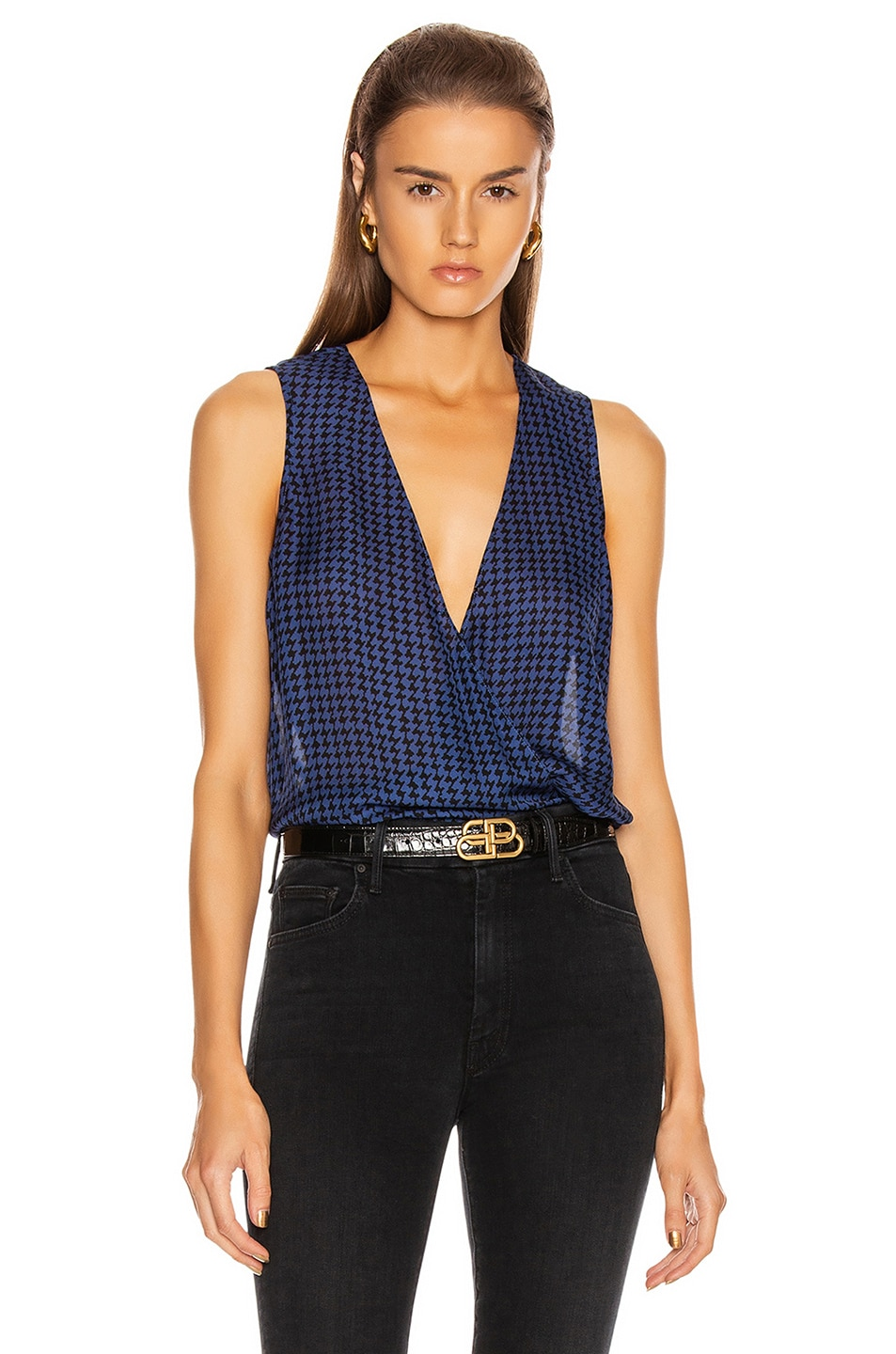 Image 1 of L'AGENCE Mila Draped Sleeveless Top in Black & Oceana Houndstooth