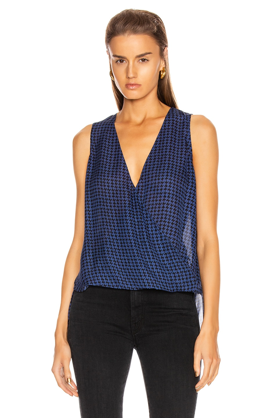 Image 2 of L'AGENCE Mila Draped Sleeveless Top in Black & Oceana Houndstooth