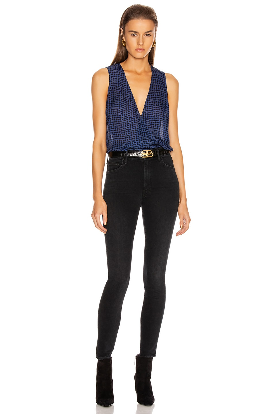 Image 5 of L'AGENCE Mila Draped Sleeveless Top in Black & Oceana Houndstooth