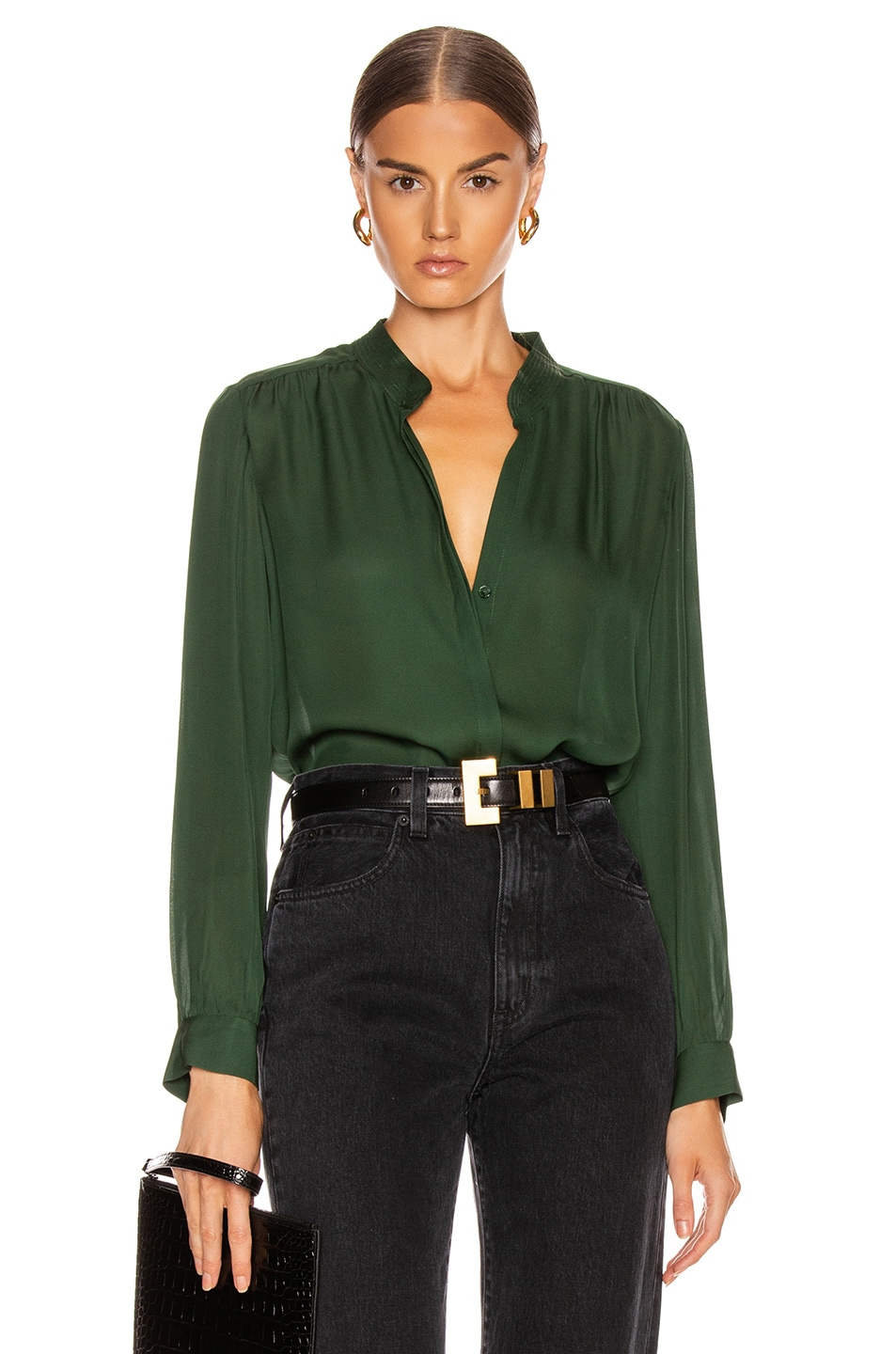 Image 1 of L'AGENCE Bianca Band Collar Top in Dark Green