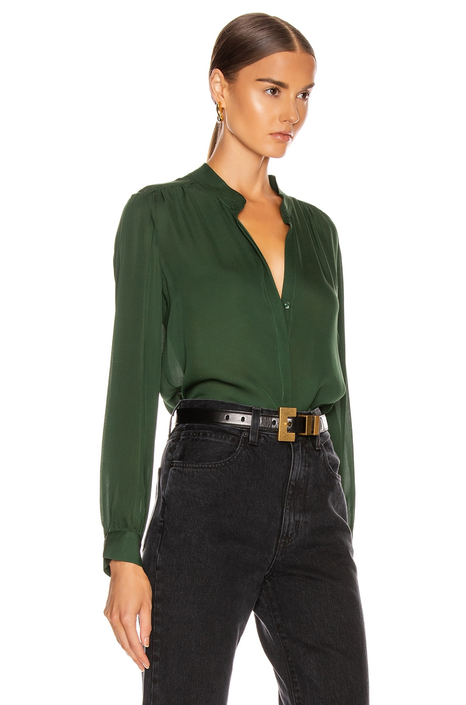 Image 2 of L'AGENCE Bianca Band Collar Top in Dark Green