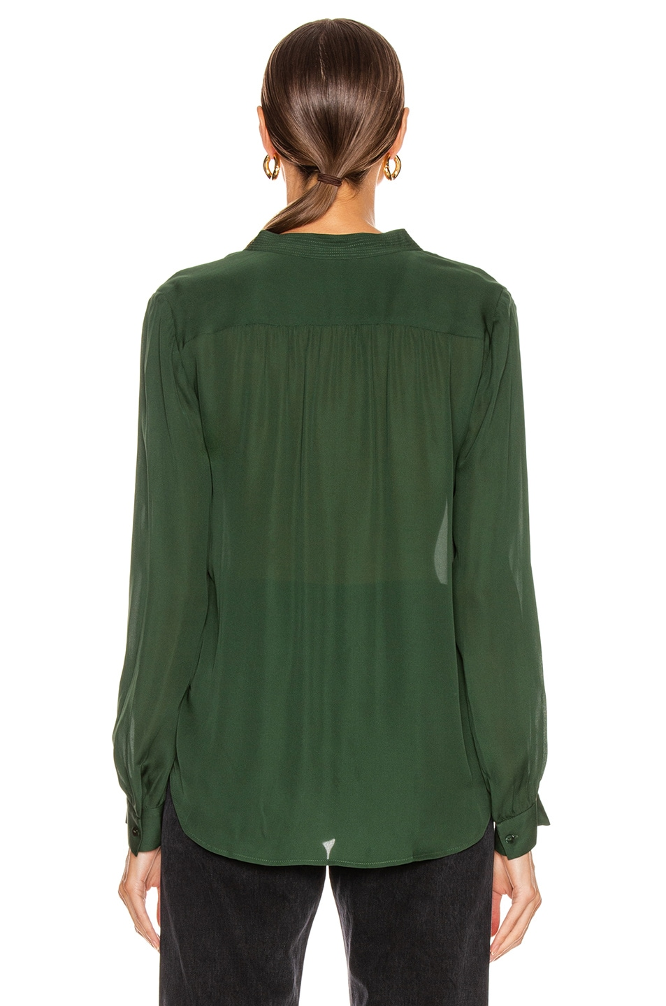 Image 3 of L'AGENCE Bianca Band Collar Top in Dark Green