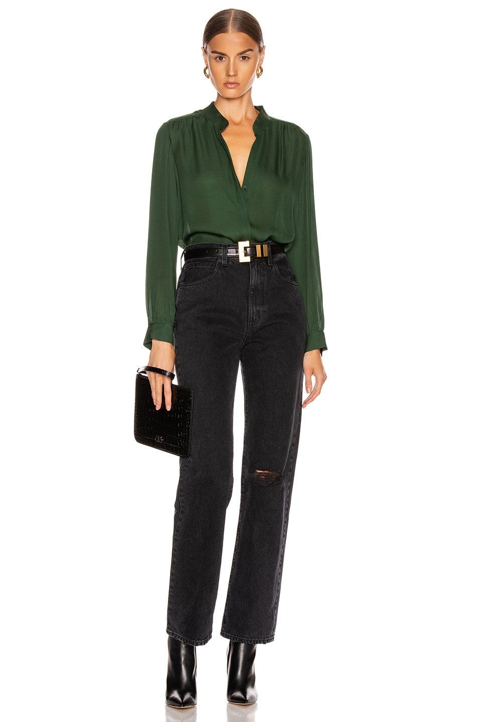 Image 4 of L'AGENCE Bianca Band Collar Top in Dark Green