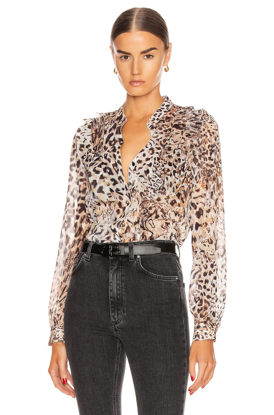 Image 1 of L'AGENCE Nadine Ruffle Shoulder Blouse in Sundari Lynx