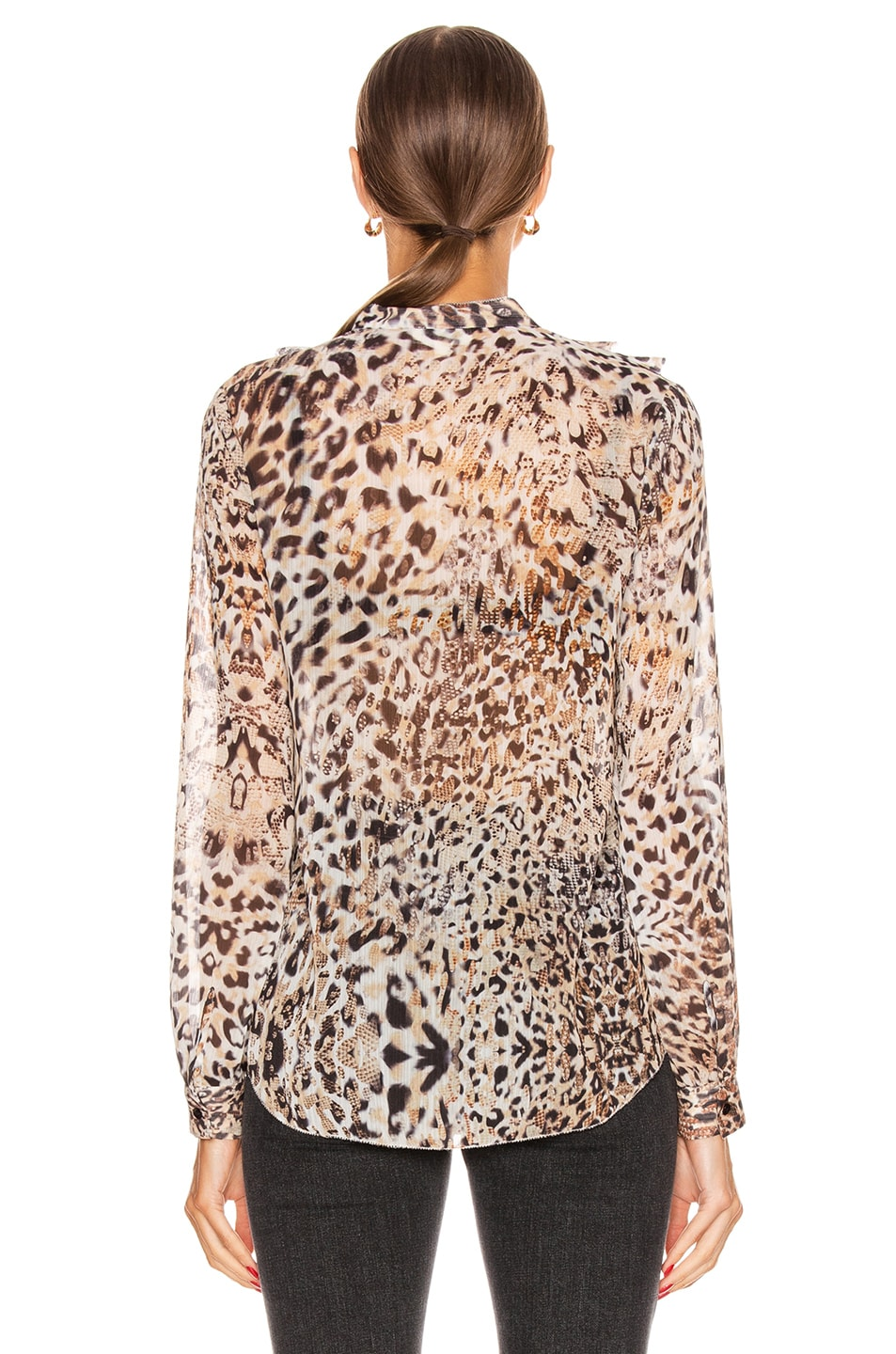 Image 3 of L'AGENCE Nadine Ruffle Shoulder Blouse in Sundari Lynx