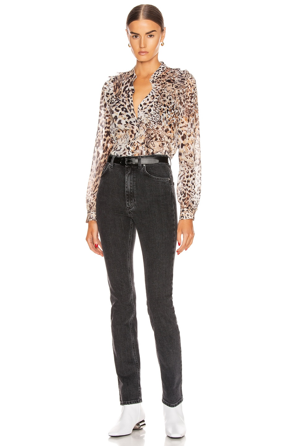Image 4 of L'AGENCE Nadine Ruffle Shoulder Blouse in Sundari Lynx