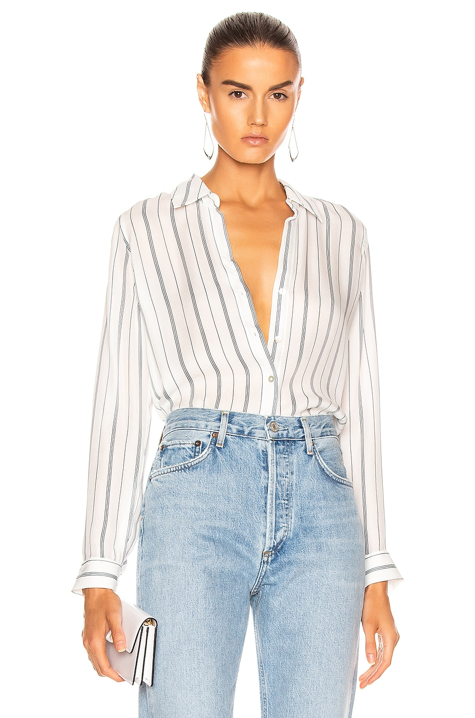 Image 1 of L'AGENCE Nina Blouse in Ivory & Navy Pinstripe