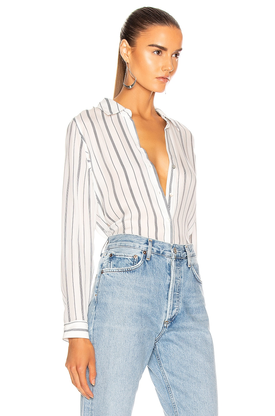 Image 2 of L'AGENCE Nina Blouse in Ivory & Navy Pinstripe