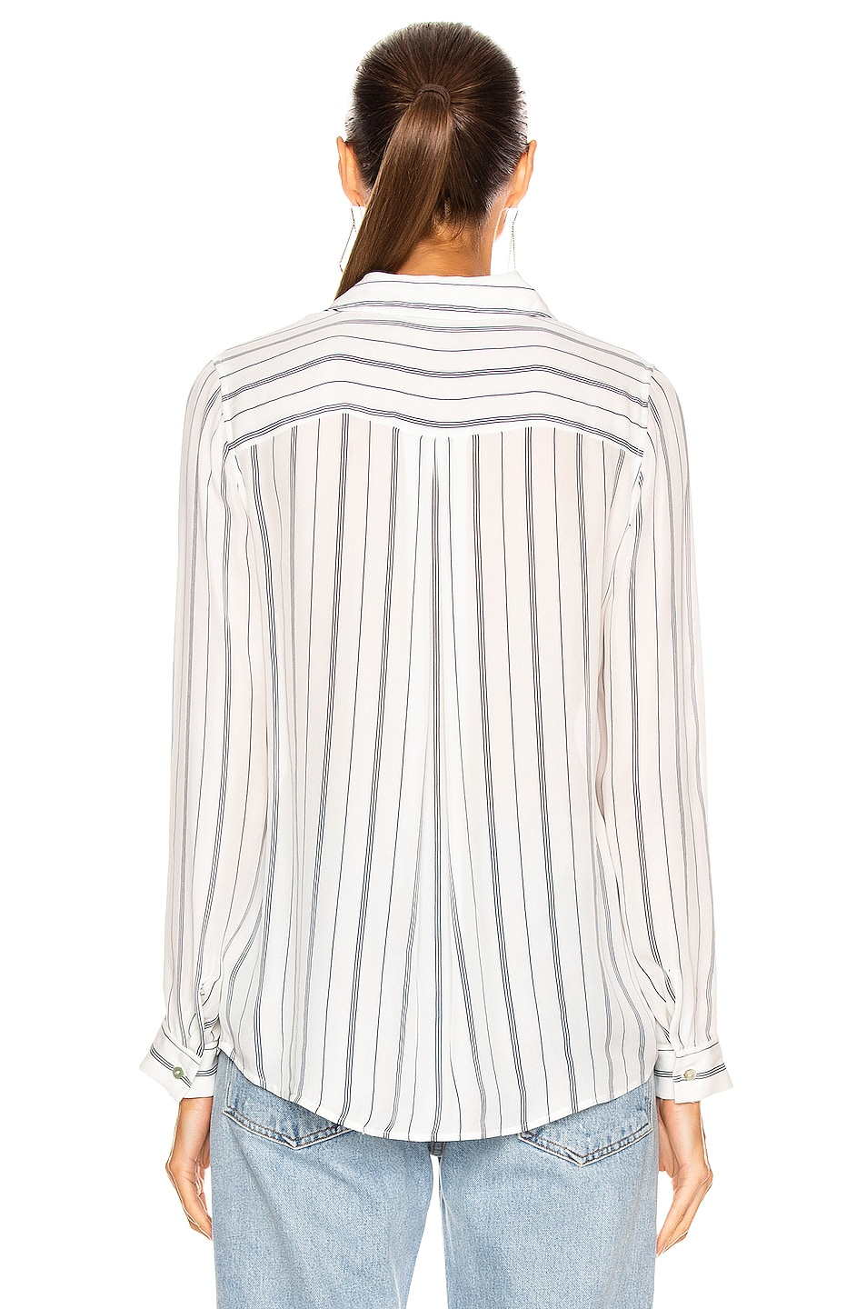 Image 3 of L'AGENCE Nina Blouse in Ivory & Navy Pinstripe