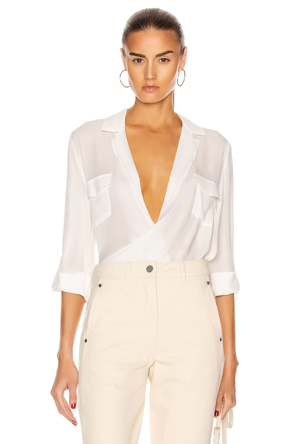 Image 1 of L'AGENCE Phoenix Front Wrap Tunic Blouse in Ivory