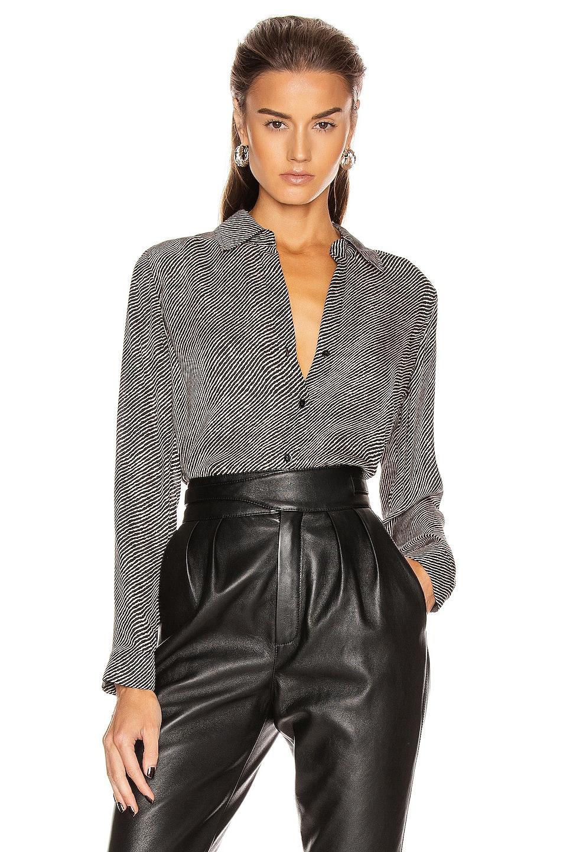 Image 1 of L'AGENCE Nina Long Sleeve Blouse in Black & Almondine