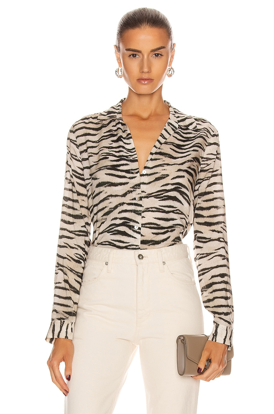 Image 1 of L'AGENCE Holly Long Sleeve Blouse in Coconut Husk