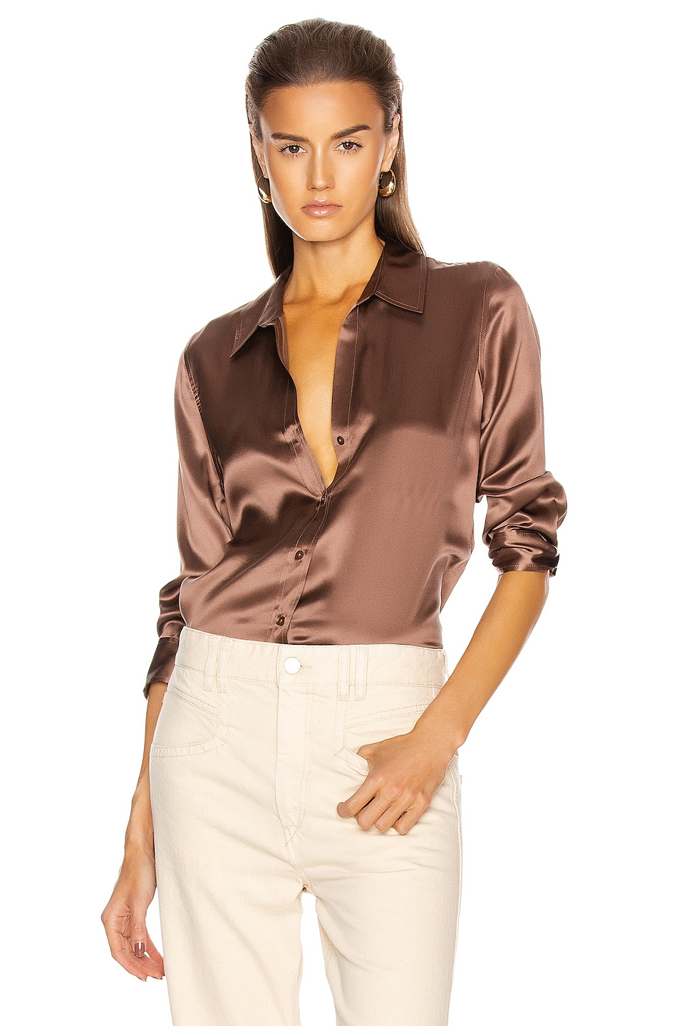 Image 1 of L'AGENCE Dani 3/4 Sleeve Blouse in Sparrow