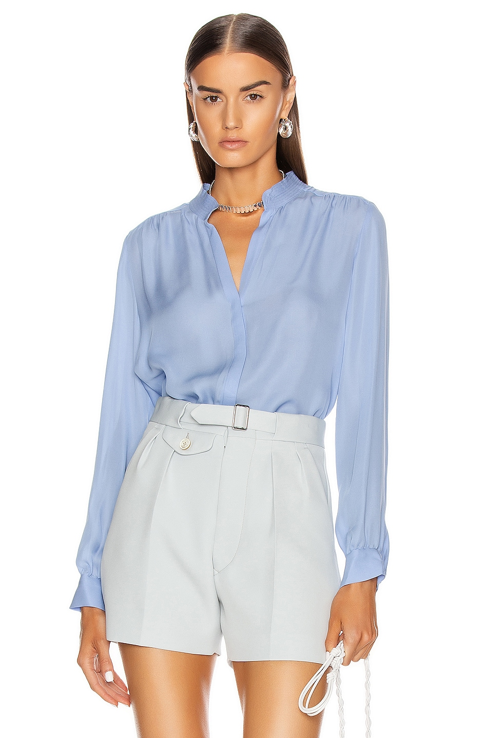 Image 1 of L'AGENCE Bianca Band Collar Blouse in Seaside Blue