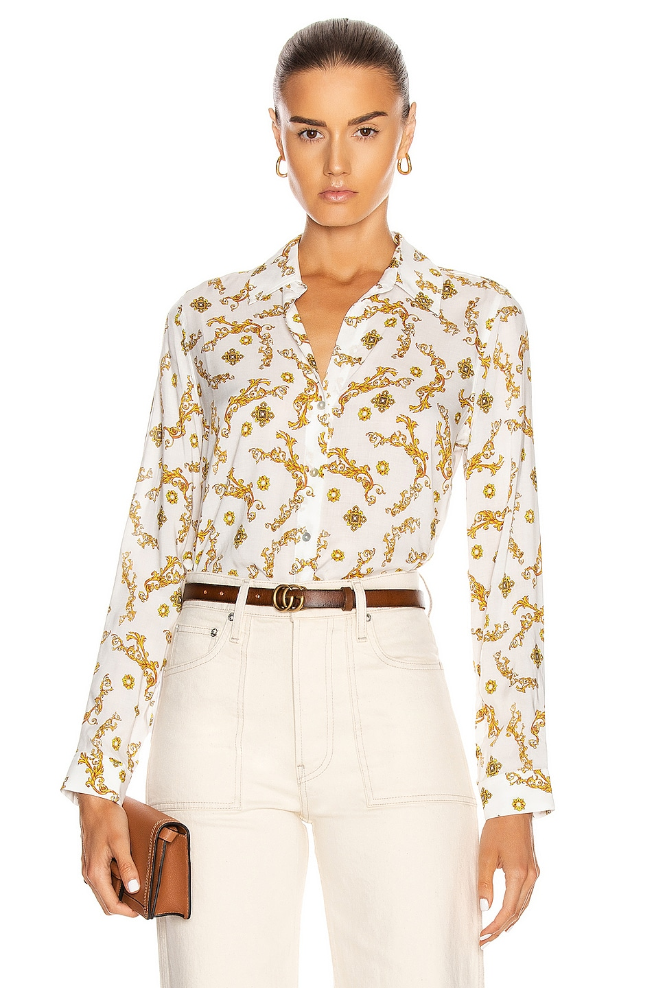 Image 1 of L'AGENCE Holly Long Sleeve Blouse in Ivory & Gold