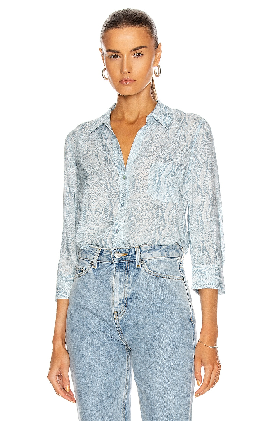 Image 1 of L'AGENCE Ryan 3/4 Sleeve Blouse in Cool Blue & Ivory