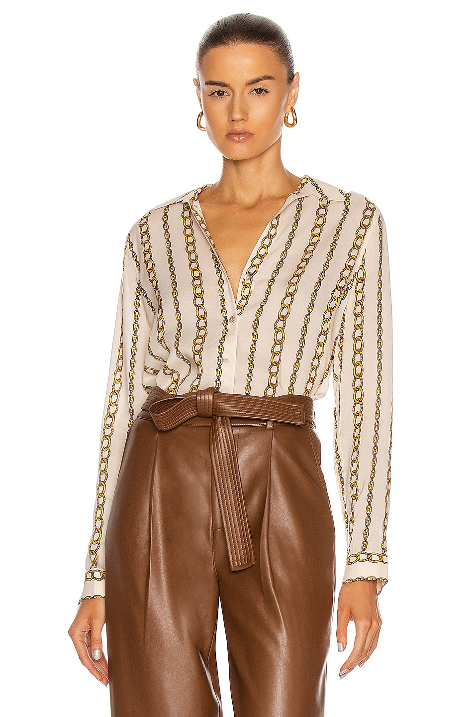 Image 1 of L'AGENCE Holly Long Sleeve Blouse in Ivory & Gold Large Chain