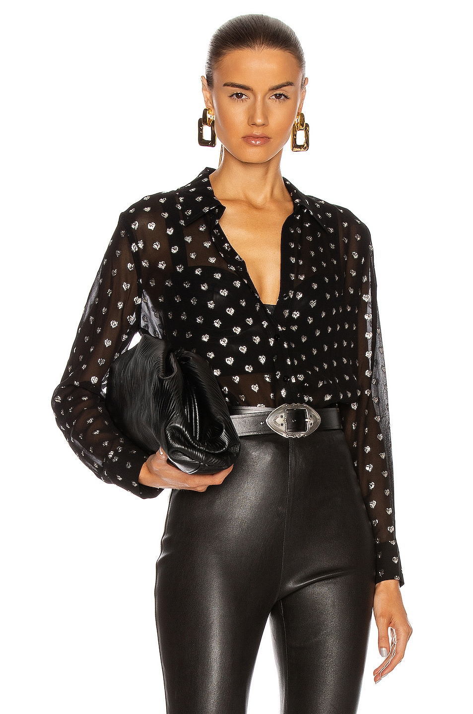 Image 1 of L'AGENCE Hailie Long Sleeve Blouse in Black