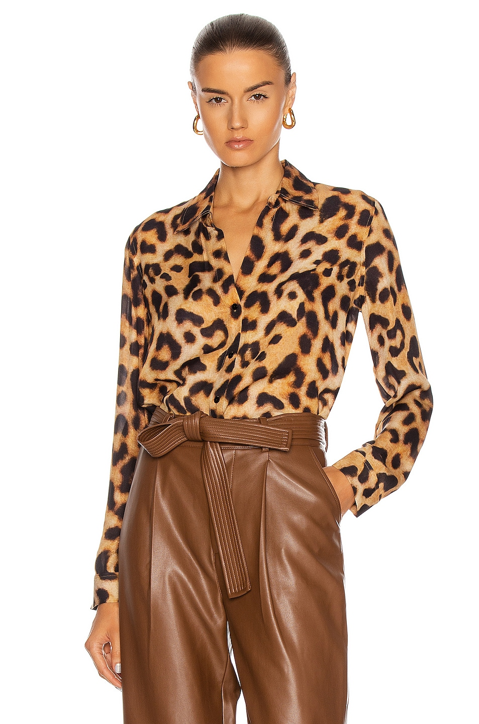 Image 1 of L'AGENCE Nina Long Sleeve Blouse in Brown & Black Leopard