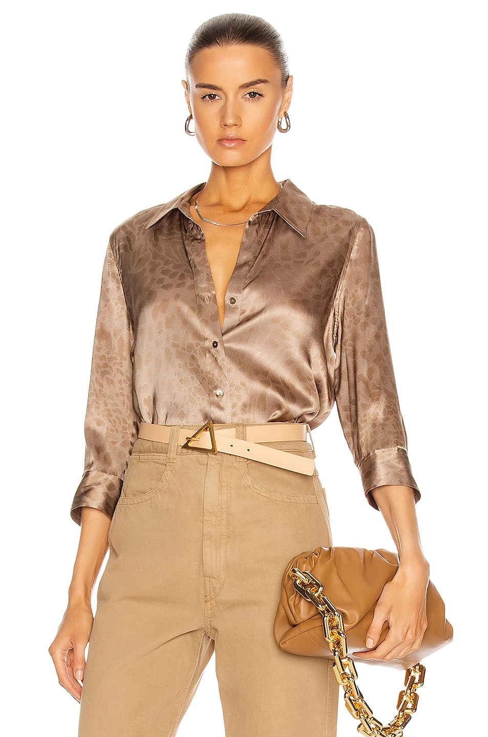 Image 1 of L'AGENCE Dani 3/4 Sleeve Blouse in Taupe Tonal Animal