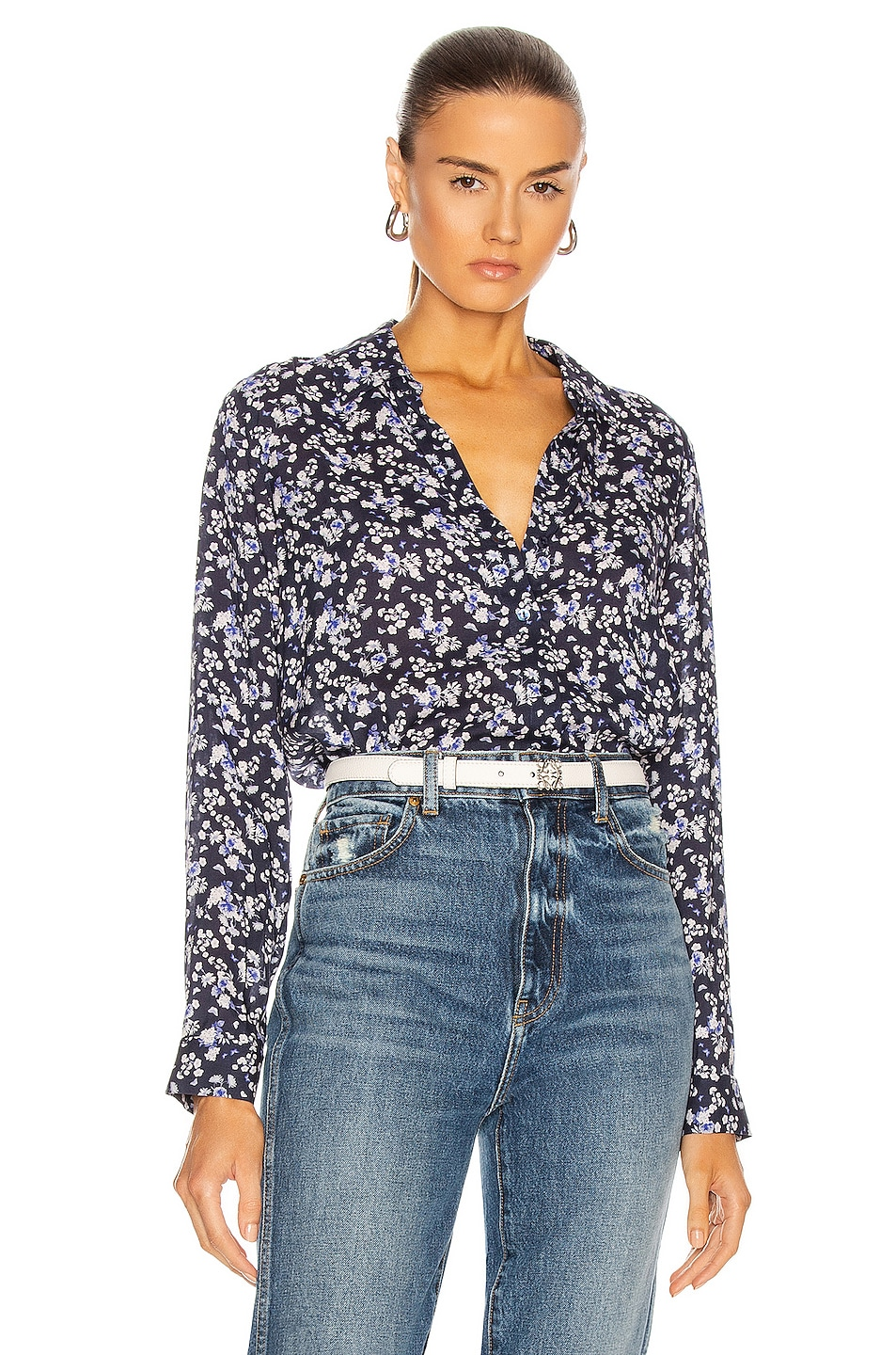 Image 1 of L'AGENCE Holly Long Sleeve Blouse in Navy & Ivory Butterfly Floral