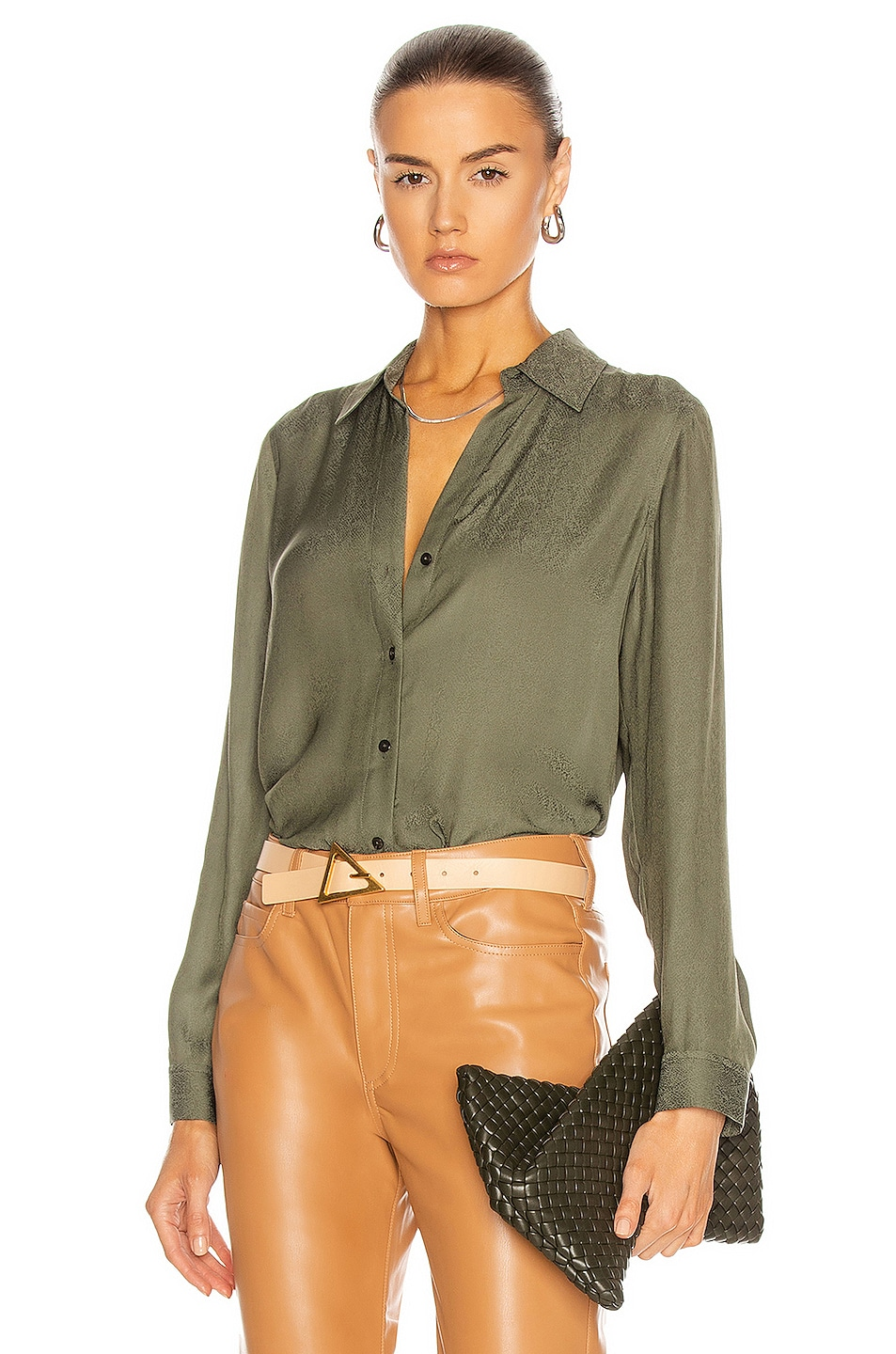 Image 1 of L'AGENCE Nina Long Sleeve Blouse in Deep Olive