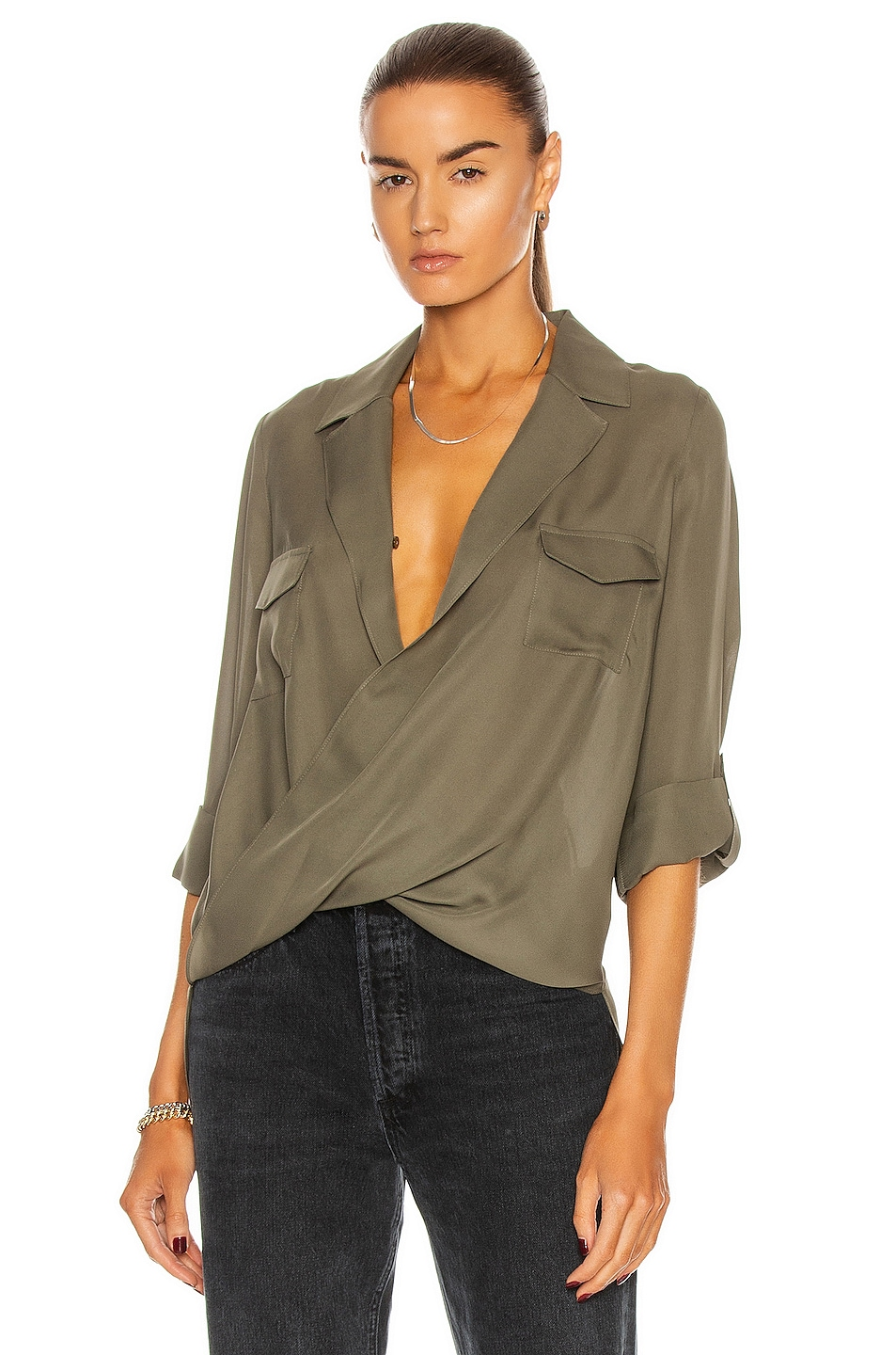 Image 1 of L'AGENCE Phoenix Front Wrap Tunic Blouse in Juniper