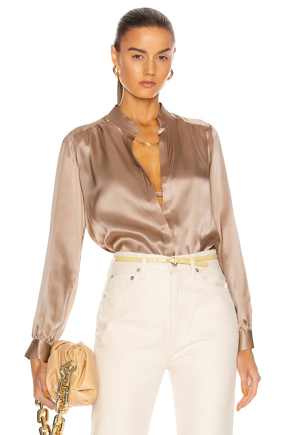 Image 1 of L'AGENCE Bianca Band Collar Blouse in Pecan