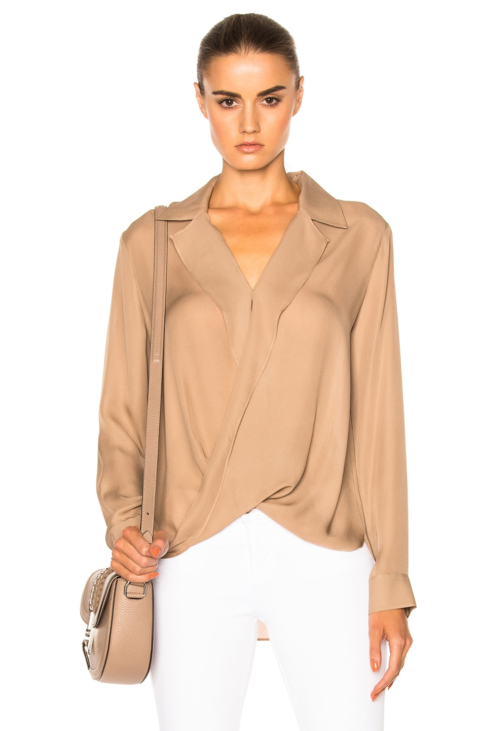 Image 1 of L'AGENCE Rita Drape Front Blouse in Chanterelle