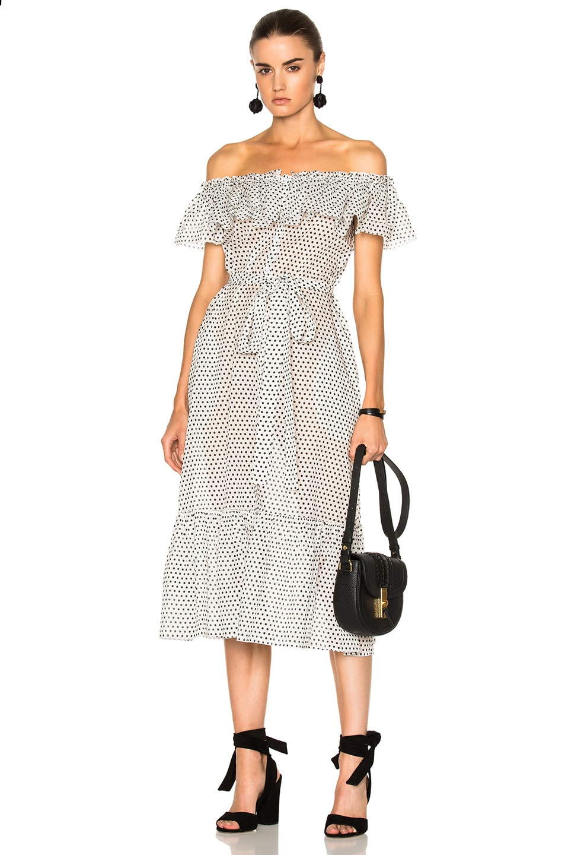 Image 1 of Lisa Marie FernandezMira Button Down Sheer Dress in Black & White Polka Dots