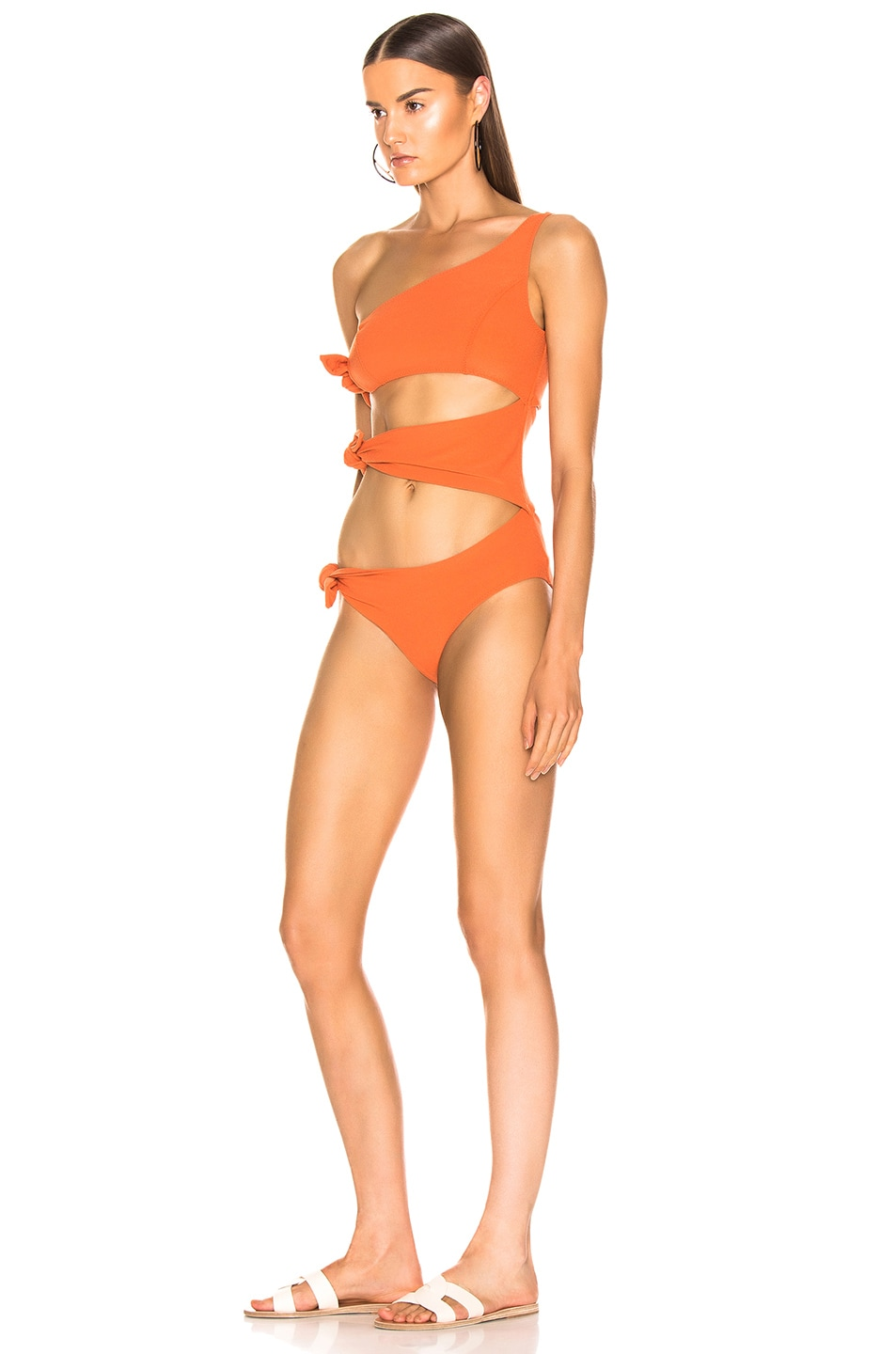 Image 3 of Lisa Marie Fernandez Bianca Crepe Maillot Swimsuit in Terracotta